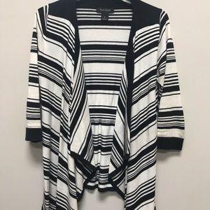 White House Black Market Striped Open Cardigan